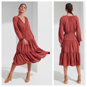 Urban Outfitters tiered midi dress terra cotta